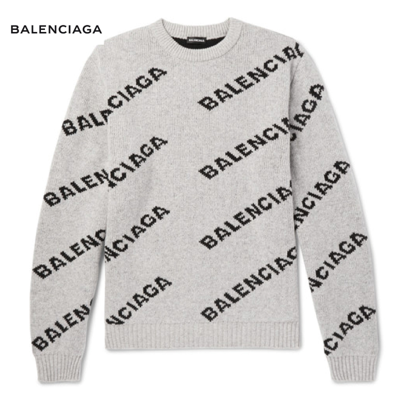 BALENCIAGA バレンシアガ Logo-Intarsia Knitted Sweater ニット セーター トップス 2018-2019年秋冬