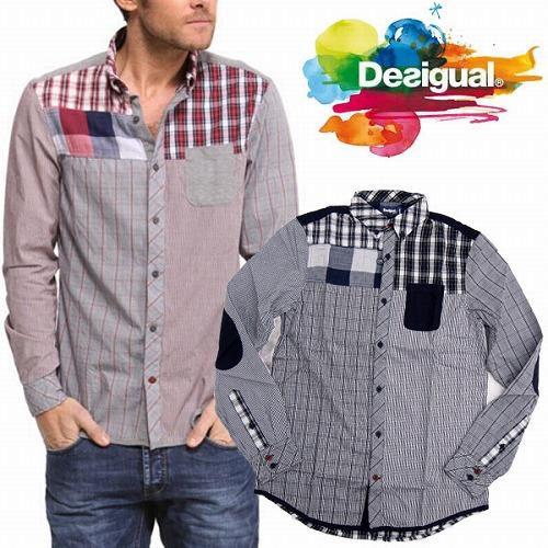 【送料無料】[DESIGUAL]デスイグアル 2014-2015年秋冬新作 メンズ 長袖 切り替えチェックシャツ