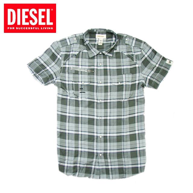 [DIESEL]ディーゼル 2011年春夏新作 ロゴプリント メンズ チェック半袖シャツ