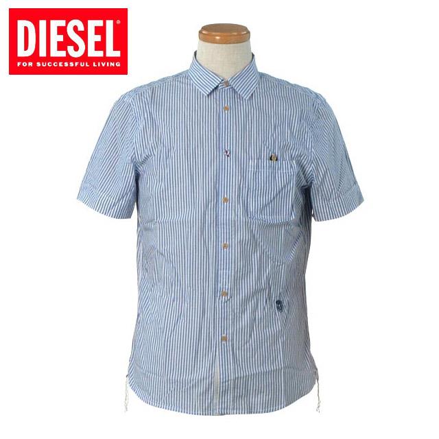 【送料無料】DIESEL(ディーゼル)2012年春夏新作 メンズ 半袖 ワンポイント 刺繍 ロゴ ストライプ シャツ