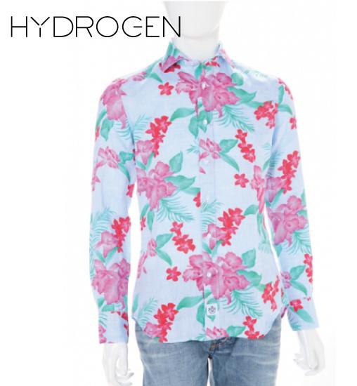 [HYDROGEN] ハイドロゲン 2015年春夏新作 ハイドロゲン 花柄ガーゼシャツ スカル ブルー×レッド 160404