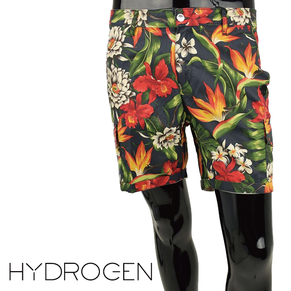 [HYDROGEN] ハイドロゲン 2015年春夏新作 ハイドロゲン 160517 ネイビーフラワーショートパンツ ポタニカルカーゴショーツ