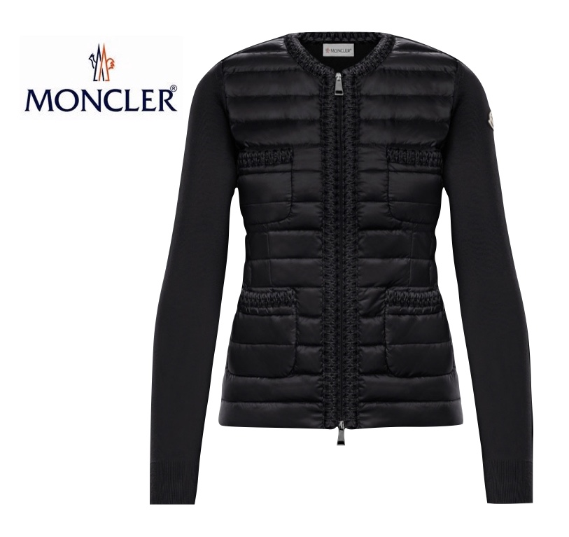 MONCLER LINED SWEATER Noir Black Ladys Tricot Cardigan Outer 2020SS モンクレール ブラック レディース トリコット カーディガン アウター 2020年春夏新作