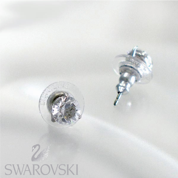 Swarovski Solitaire Pierced Earrings Earring 1800046 Br Rhodium Crystals