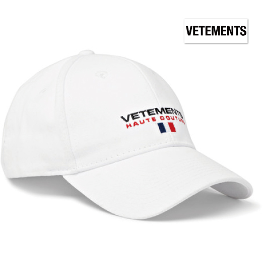 Vetements ヴェトモン 2018年春夏新作 Embroidered Cotton-Twill Baseball Cap ホワイト 帽子 キャップ