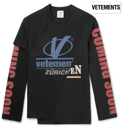 Vetements ヴェトモン 2018年春夏新作 Cut & Sew Slim-Fit Printed Cotton-Jersey Sweatshirt シャツ ホワイト