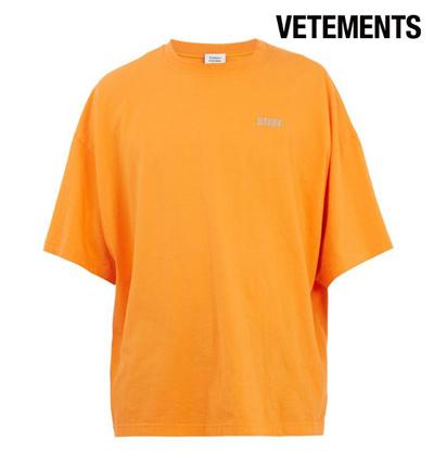 Vetements ヴェトモン 2017-2018年秋冬新作 Staff Printed Cotton-Jersey T-Shirt Orange メンズ Tシャツ 半袖 トップス
