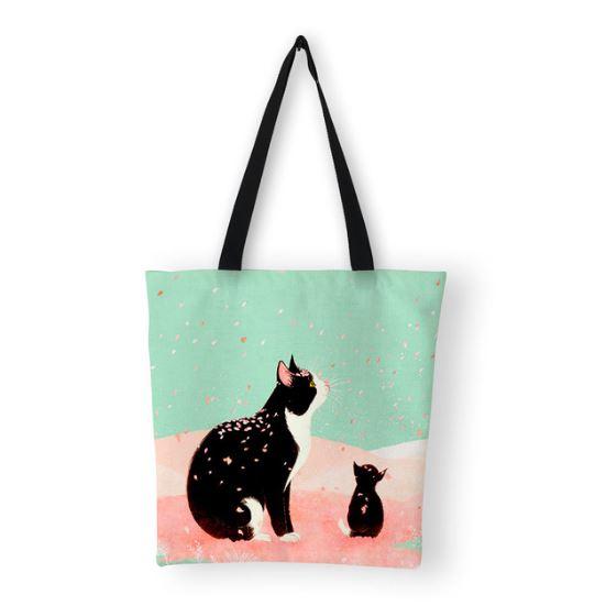 桜を見る親子の猫がかわいいトートバッグです 新作アイテム毎日更新 送料無料 猫 猫柄 トートバッグ A4 価格交渉OK送料無料 縦長 ネコ ねこ かわいい キャンバス グッズ 雑貨