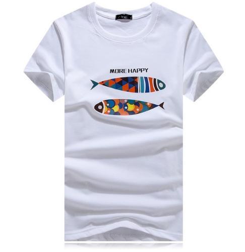 かわいい魚Tシャツです Tシャツ メンズ 半袖 丸首 かわいい イラスト セール商品 爆安 デザイン グレー 白 魚