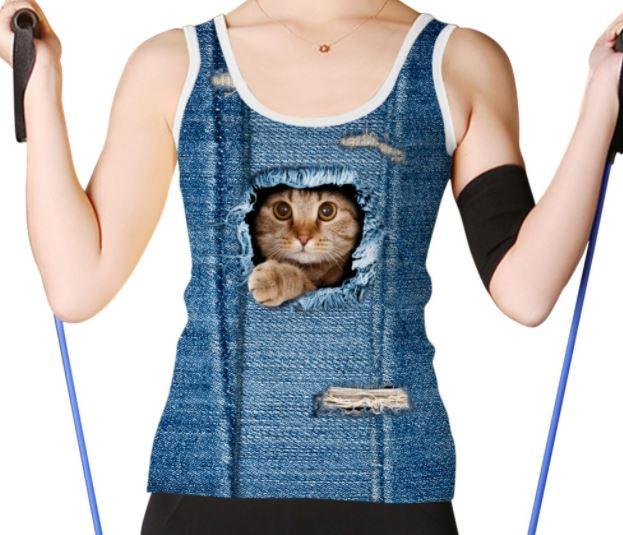 ユニークでかわいいタンクトップです 安心と信頼 送料無料 猫 猫柄 タンクトップ ノースリーブ Tシャツ 値下げ レディース トップス スポーツウェア ランニングウェア ねこ リアル 誕生日 雑貨 ネコ ギフト プレゼント ユニーク グッズ 個性的