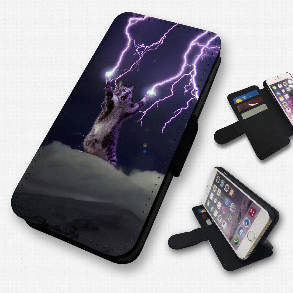 稲妻猫の超絶ユニークなiphone8 plus手帳型ケースです 正規認証品!新規格 送料無料 iphone8 plus ケース カバー 手帳型 手帳 かわいい ユニーク グッズ 雑貨 ねこ ネコ 新品未使用正規品 猫 スマホケース 個性的