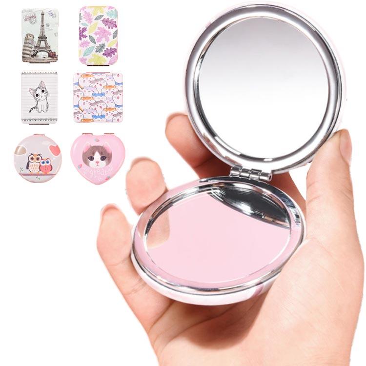 鏡 コンパクトミラー サークル 男女兼用 秀逸 手鏡 スライドミラー 貼り付け アクセサリーパーツ?かわいい 送料無料 ミニ