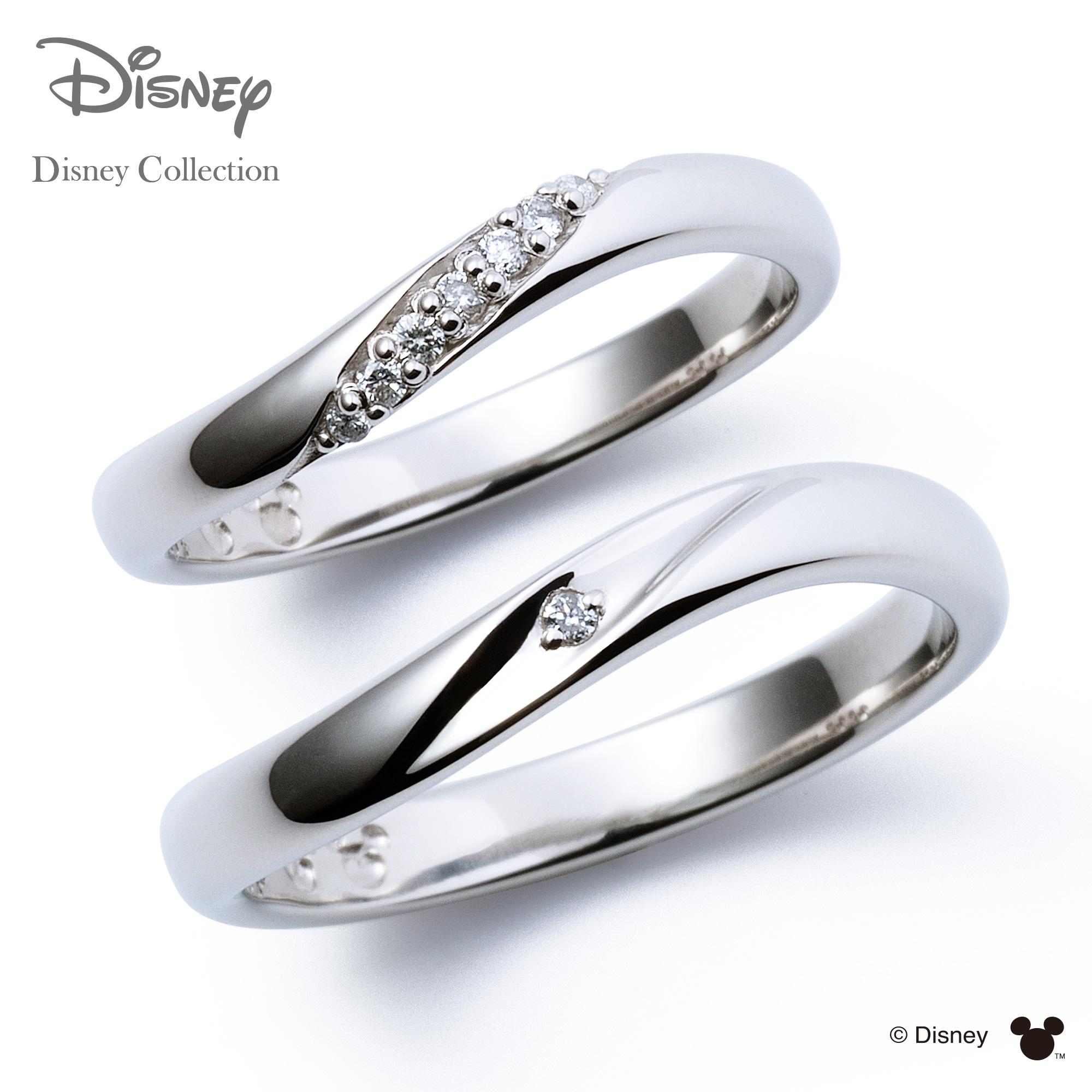 刻印可_14文字 ディズニーコレクション ディズニー プラチナ マリッジ リング 結婚指輪 隠れミッキーマウス ペアリング THE KISS ザキッス リング 指輪 DI-7061117011-7061117021 セット シンプル 男性 女性 2個ペア