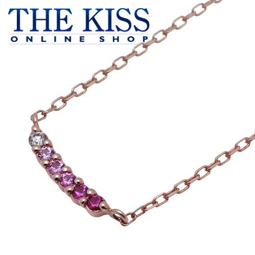 【あす楽対応】【送料無料】【THE KISS sweets】 K10ピンクゴールドネックレス 40cm (ダイヤモンド、サファイア、ルビー、3カラーストーン) ☆ ダイヤモンド ゴールド レディース ネックレス 首飾り ブランド Diamond GOLD Ladies Necklace