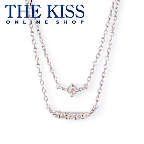 【あす楽対応】【送料無料】【THE KISS sweets】K10ホワイトゴールド ダイヤモンド レディース 2連ネックレス 40cm ☆ ダイヤモンド ゴールド レディース ネックレス 首飾り ブランド Diamond GOLD Ladies Necklace
