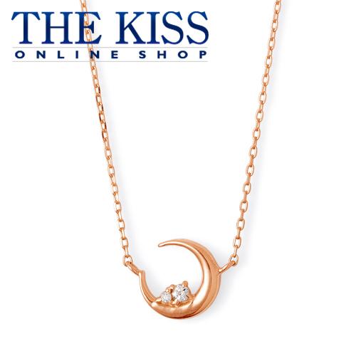 【あす楽対応】【送料無料】【THE KISS sweets】 K10ピンクゴールド ダイヤモンド ムーン レディース ネックレス 40cm ☆ ダイヤモンド ゴールド レディース ネックレス 首飾り ブランド Pink Tourmaline GOLD Ladies Necklace