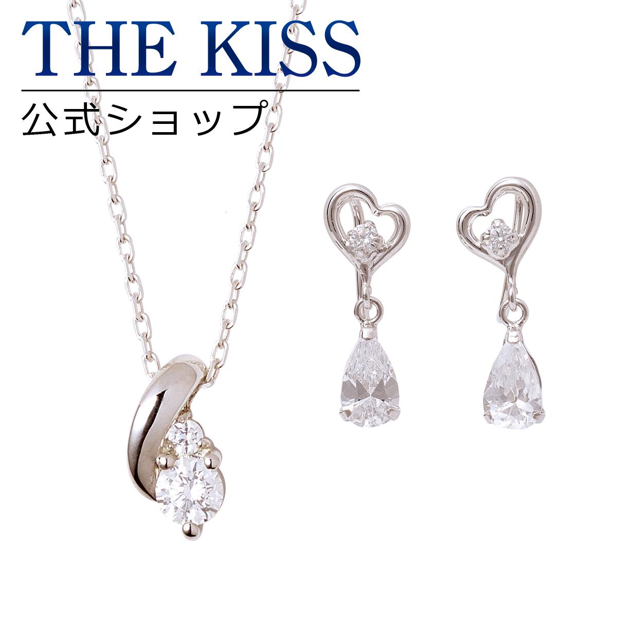 【あす楽対応】【THE KISS sweets】 レディースセット /レディースネックレス / レディースイヤリング / シルバー ネックレス / ホワイトゴールド イヤリング / THE KISS イヤリング ネックレス K10 SPD262CB-AL-E003CB セット シンプル ザキス 【送料無料】