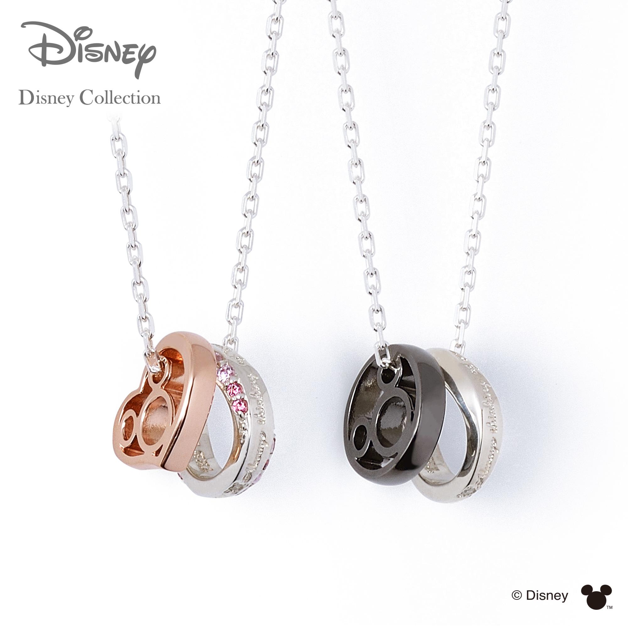 【あす楽対応】【ディズニーコレクション】 ディズニー / ネックレス / ミッキーマウス / THE KISS ペア ネックレス・ペンダント シルバー ダイヤモンド DI-SN1839DM-1840DM セット シンプル ザキス 【送料無料】