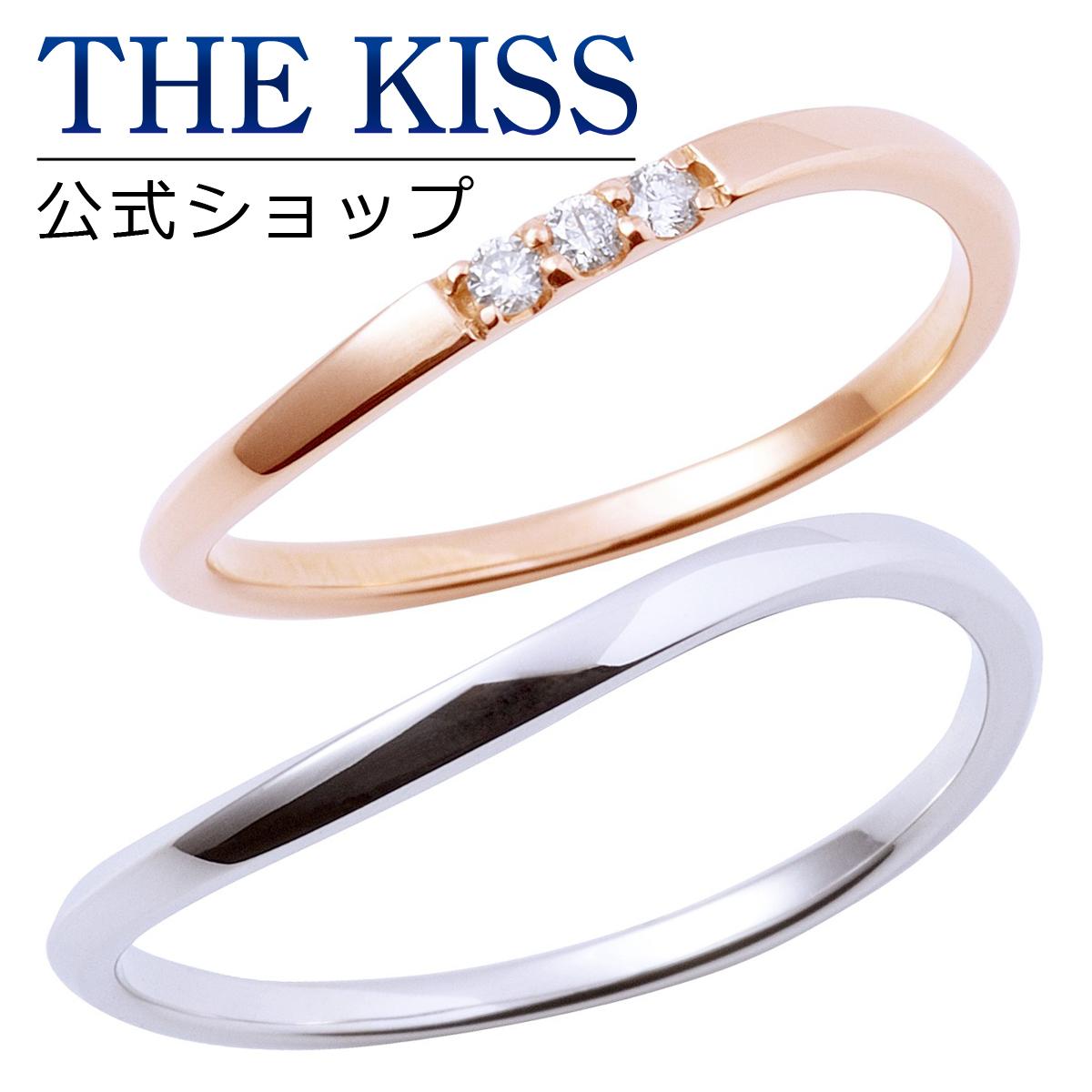 【あす楽対応】【送料無料】【THE KISS COUPLE'S】【ペアリング】 K10ピンク&ホワイトゴールド ダイヤモンド ペアリング 結婚指輪 マリッジリング ☆ ゴールド ペア リング 指輪 ブランド GOLD Pair Ring couple K-R2219PG-2220WG 男性 女性 2個ペア