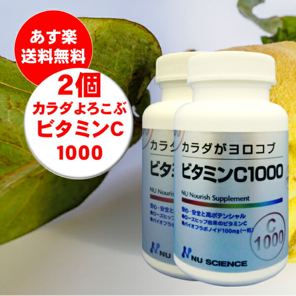 カラダがヨロコブシリーズビタミンC1000 超目玉 2個セット ビタミンC1000 ニューサイエンス 送料無料 定価の67%OFF カラダがヨロコブ 60粒
