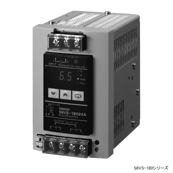 オムロン S8VS-18024B ユニット電源 入力 AC100~240V 容量 180W 出力 DC24V 端子台(ねじ端子) 表示モニタ 積算稼働時間出力 不足電圧検出出力(シンクタイプ) DINレール取りつけ 高調波電流規制