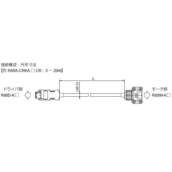 在庫品 オムロン R88A-CRKA005CR ACサーボモータ/ドライバ用オプション エンコーダケーブル5m (100V/200V) 3000r/minモータ50~750W用 (絶対値エンコーダ/インクリメンタルエンコーダ共用) ロボットケーブル