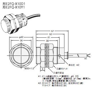 在庫品 オムロン E2FQ-X10D1 2M 耐薬品用フッ素樹脂ケース近接センサ シールド M30×1.5mm 直流2線式 検出距離10mm 動作モードNO 直流2線式有極 コード引き出しタイプ(2m)