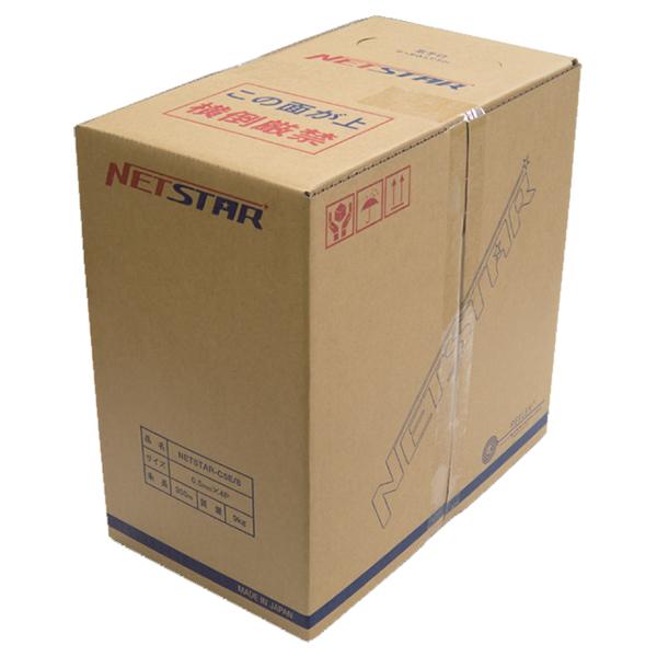 ユーボン UTP加工用ケーブル(単線) NETSTAR CAT5E 0.5X4P タンセン ソライロ 300Mマキ