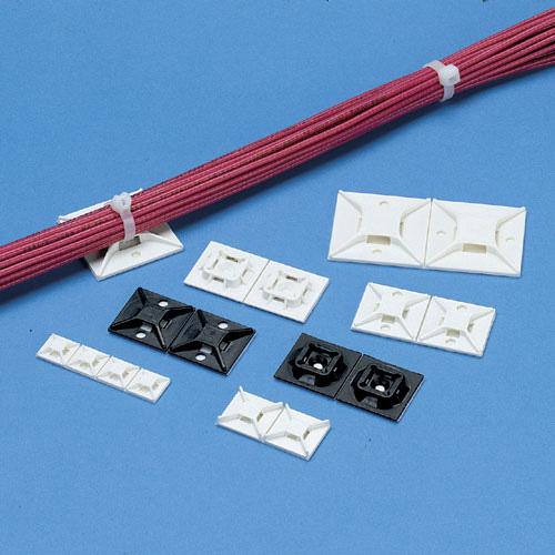 パンドウイット ABMM-A-D(白)(500個入り) ナイロン66 結束バンド4方向挿入タイプ粘着テープ付き固定具 サイズ19.1x19.1mm 結束バンド幅2.3~3.6mm