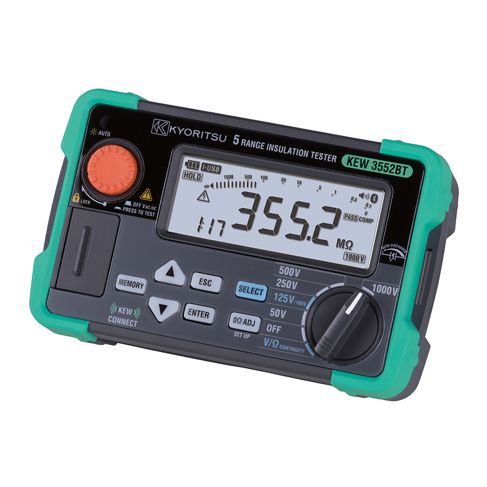 共立電気計器 KEW3552BT 絶縁抵抗計 Bluetooth Smart 搭載 6レンジ絶縁抵抗計(50V/100V/125V/250V/500V/1000V) メモリ機能有り