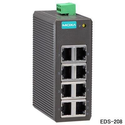 MOXA(モクサ)EDS-208 アンマネージド型イーサネット・スイッチHUB(8ポート) DINレール・マウント