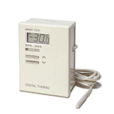 オムロン E5LD-2C AC100 デジタルサーモ 表示単位0.1(℃) 一体形サーミスタ入力 リード線長さ2m 正動作(冷却用) リレー出力(接点1a) 設定温度範囲-10.0~40.0(℃)