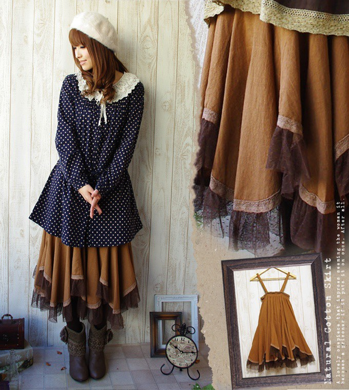 One piece natural camel color ♪ Tulle that is one piece dress forest girl skirt one piece soft and fluffy air Lee in the summer is medium flared skirt ◎ (312) fs3gm of the tightening effect * young girl degree perfect score waist shirring