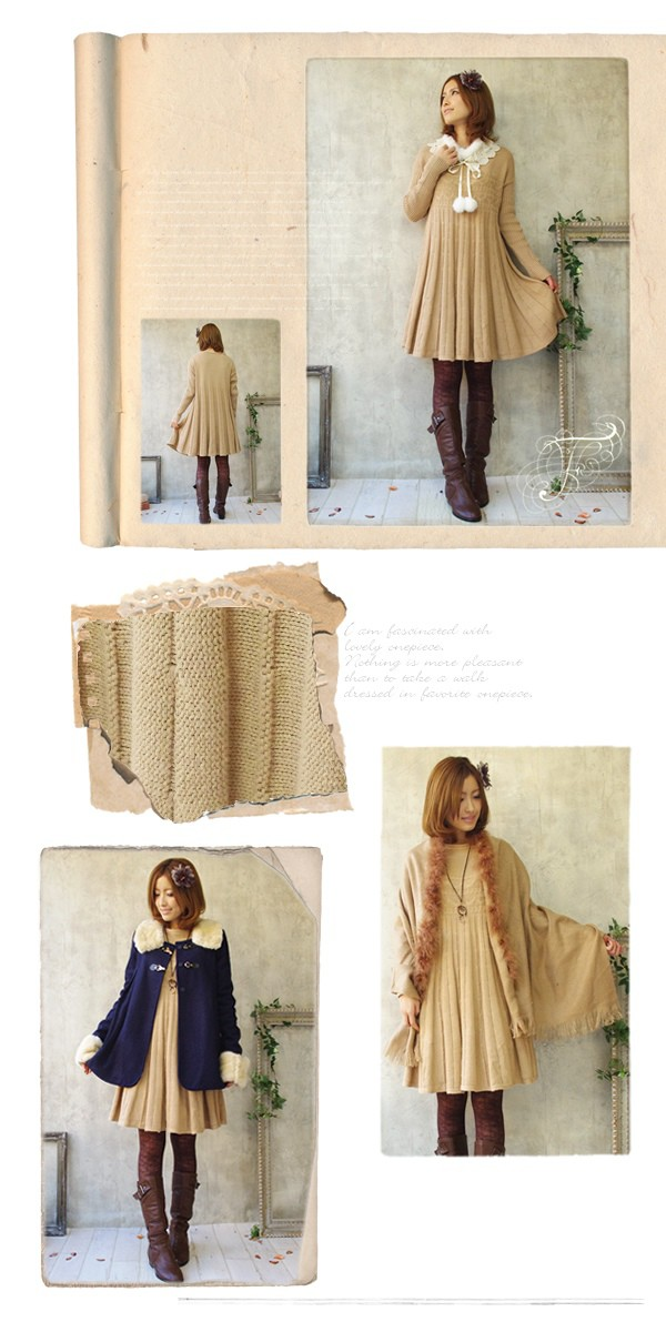 A good flare knit one piece ♪ fs3gm where the rib of the *゜ sleeve is stylish the cute magic that seemed to hang pleats to the knit dress natural knit