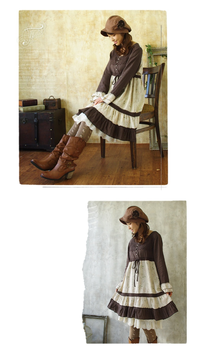Mori girl floral dress * Favorite original * winter Nordic country girl ♪ luxury lace neckline with small floral skirt is so cute A line one piece dress fs3gm