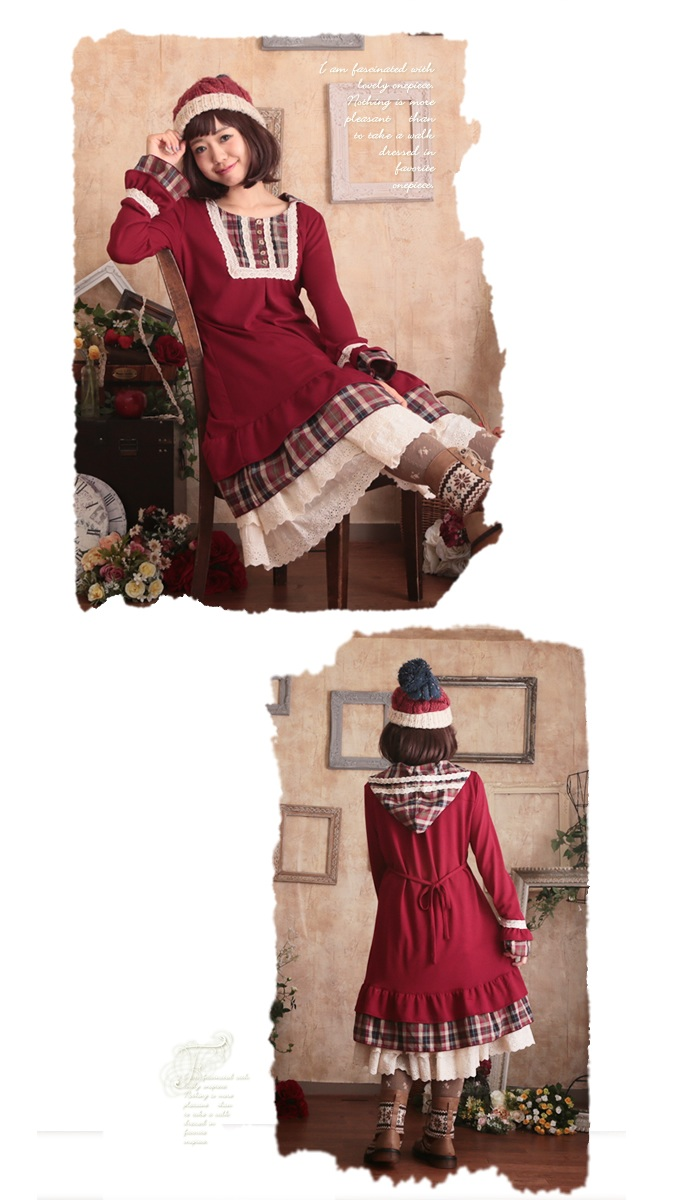 Flare one piece (1082) fs3gm where I picture a check in the food which they are going to send it out sequentially from around November 14, and makes a winter girl pretty, and .* ゜ knit and checked casual clothes are cute