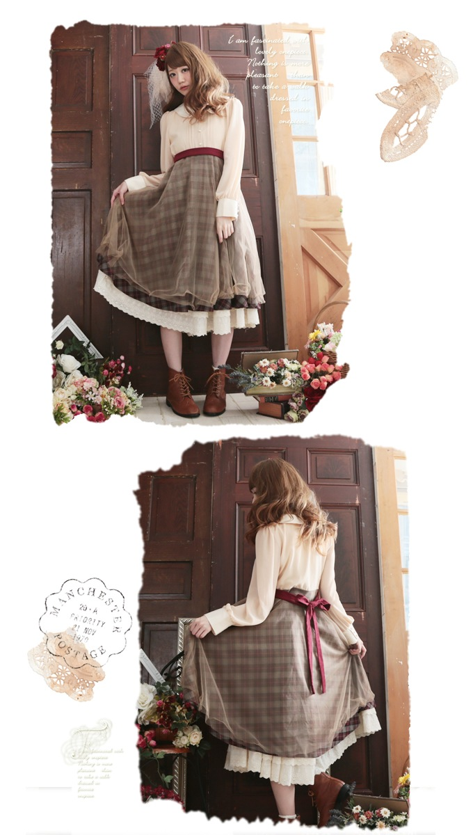 Fall/winter dress tulle check * Favorite original * ★ Favorite×sena original ★ nonnative ° + fairy's luxurious two-layer tullecheckclassicwan piece! Halloween costumes Halloween costumes