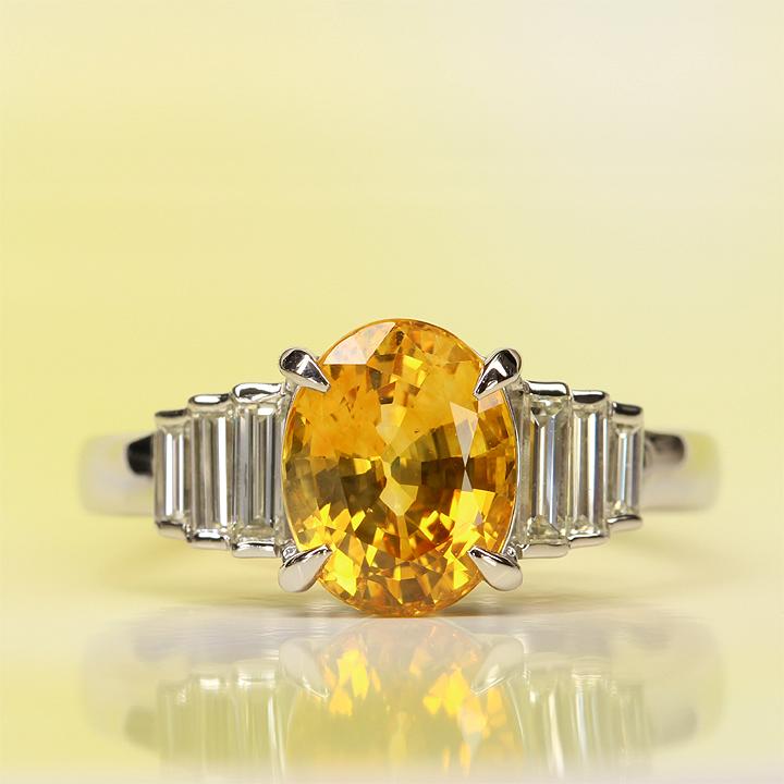 【返品可能】 【イエローサファイア】【イエローサファイヤ】【サファイア】Pt900【リング】S2.72ctD0.46ct yellow sapphire【中古】