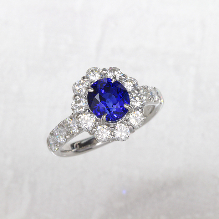 【返品可能】 【サファイア】【サファイヤ】Pt900【リング】S2.119ctD1.28ct sapphire【中古】