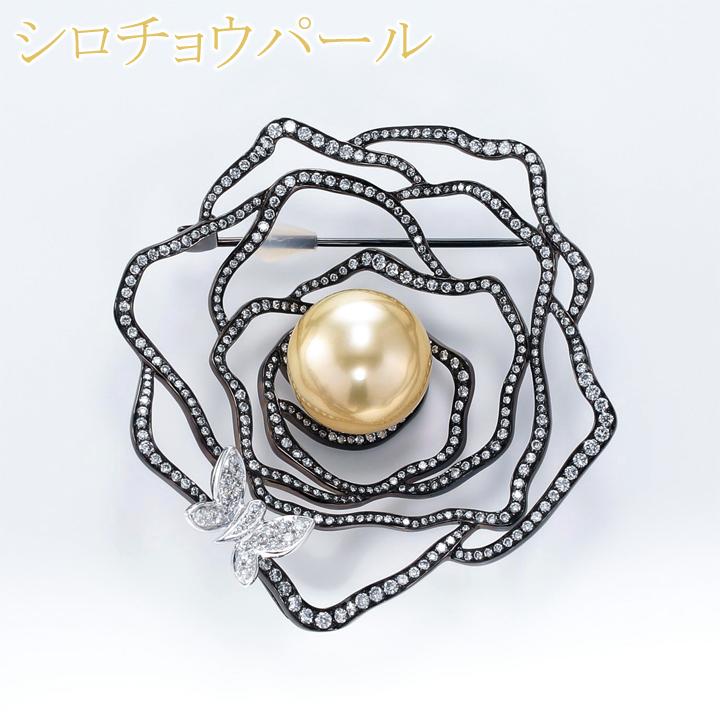 【返品可能】 ナチュラルゴールド パール 南洋真珠 ゴールデンパール 真珠 白蝶真珠 K18/ブラックメッキ ブローチ 直径 約 15mm D 2.465ct gold pearl 【中古】