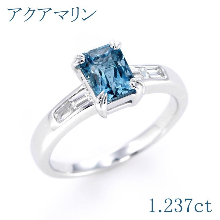 【返品可能】 アクアマリン アクワマリン K18WG リング 1.237ct D 0.22ct aquamarine 【中古】