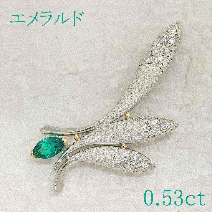 【返品可能】 エメラルド Pt900/K18/K14 ブローチ D0.53ct 0.16ct 【中古】 emerald