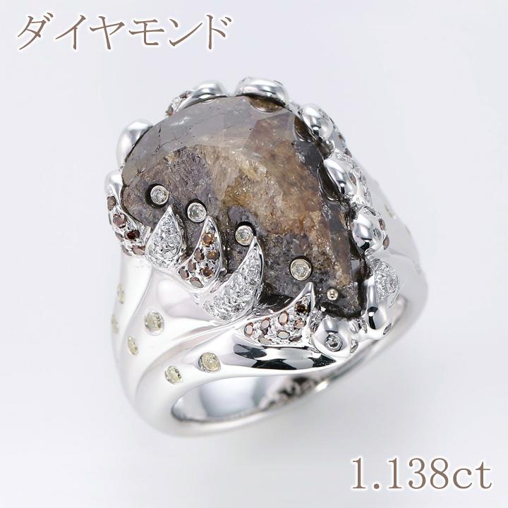 【返品可能】 天然ダイヤモンド ダイヤモンド ダイヤ ダイヤ原石 K18WG リング D 11.38ct D 0.58ct rough diamond 無処理 【中古】 レアストーン