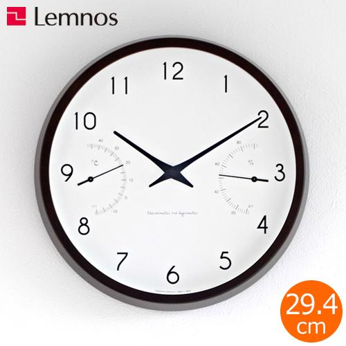 掛け時計 温湿度計 レムノス LEMNOS カンパーニュ エール Campagne air ブラウン 木製 壁掛け時計 連続秒針 秒針なし PC17-05BW
