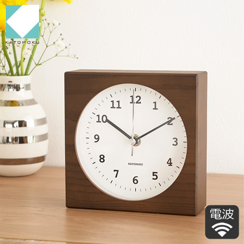 美しい木目のミニサイズ時計 日本製 置き時計 木製 オシャレ 北欧 インテリア 電波掛時計 連続秒針 加藤木工 カトモク 往復送料無料 KATOMOKU Dual ショップ 掛け 四角 KM-95BRC use ブラウン スイープムーブメント 電波時計 壁掛け clock スクエア 4