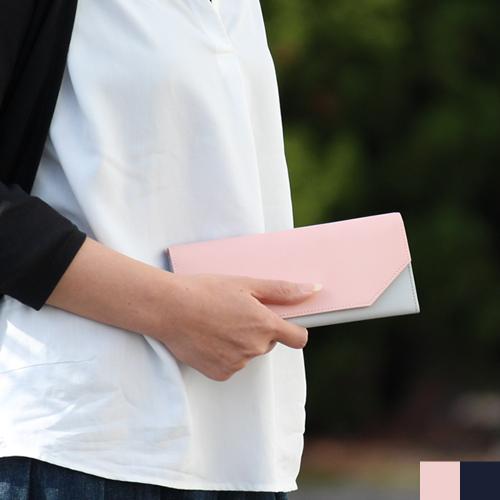 長財布 レディース 薄い 本革 かぶせ 財布 革 軽い 軽量 シンプル 日本製 紗蔵 バイカラー ピンク × グレー ネイビー × グレー 二つ折り 財布