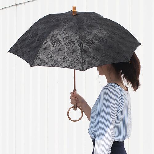 シュールメール 日傘 SUR MER レース 刺繍 花柄 ブラック コットン 竹輪っか 長傘 折りたたみ傘 日本製 UVカット 紫外線防止 シュルメール