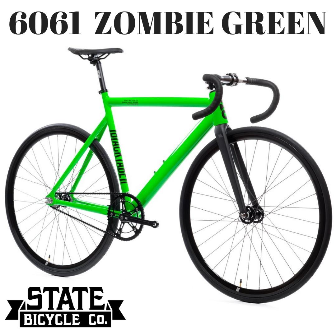 ピストバイク 完成車 ステイトバイシクル STATE BICYCLE 6061 ZOMBIE GREEN【自転車 バイク スポーツバイク 完成品 アルミ 軽量 カスタム カスタムバイク ベース フリーギア 固定ギア 初心者 シンプル おしゃれ 緑 グリーン】