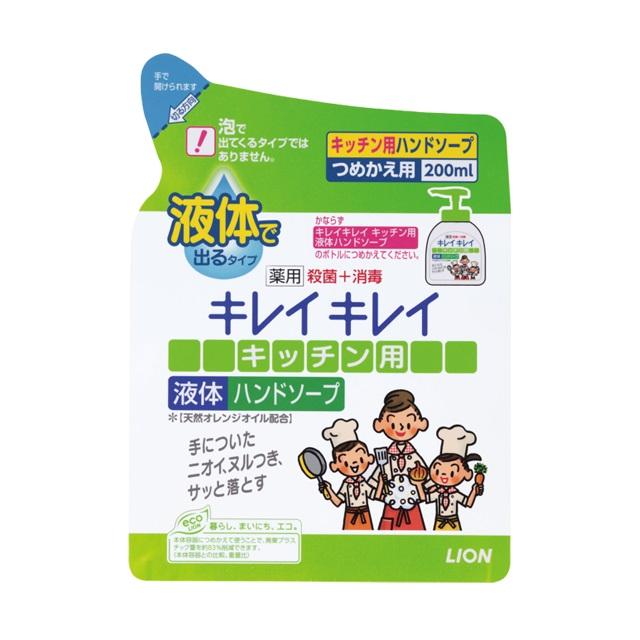 【まとめ買いがお得!】ライオン キレイキレイ 薬用キッチン液体ハンドソープ [つめかえ用] 200ml×24セット Lion Kireikirei Kitchen Handsoap 4903301007340