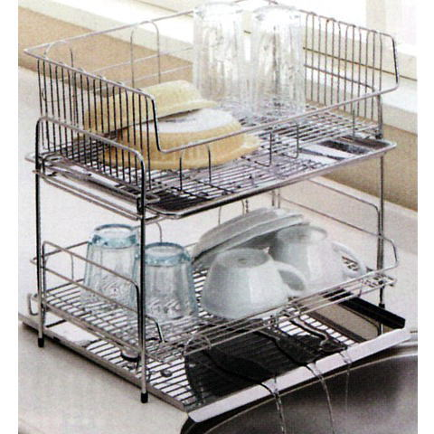 To Naturally Flowing Two Stage Kitchen Rack Drainer Basket Stainless Steel Dish  Drainer Basket Water Flows To The Sink! Housed In The Space Without Waste!